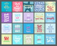 Hand drawn seasons set of lettering phrase about Summer holiday isolated on the white background. Fun brush ink vector Royalty Free Stock Photo