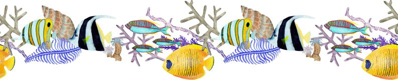 Hand drawn seemless border in watercolor sea world natural element. Corals reef on white background stock illustration