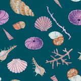 Hand drawn seemless pattern in watercolor sea world natural element. Corals shells on dark turquoise blue background. royalty free illustration