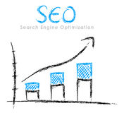 Hand-drawn SEO graph Stock Photo