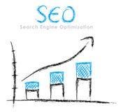 Hand-drawn SEO graph. Hand-drawn finance statistics with arrow: Search Engine Optimization Stock Photo