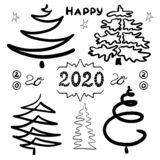 Hand-drawn set of abstract Christmas trees. Clip art for design holidays New Year and Christmas. Black contours. Isolated o stock illustration