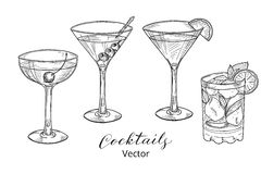 Hand drawn set of alcoholic cocktails Stock Photography