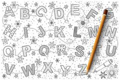Alphabet doodle vector set Royalty Free Stock Images