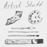 Hand drawn  set of artist stuff. Tube of Paint, palette, paint-scraper and brushes Royalty Free Stock Images
