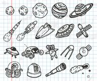 Hand drawn set of astronomy doodles. Stock Image