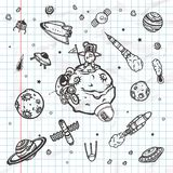 Hand drawn set of astronomy doodles. Stock Images