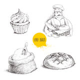 Hand drawn set bakery illustrations. Baker with baker basket of fresh bread, bread loaf, cupcake and sack with flour and wooden s. Coop isolated on white stock illustration