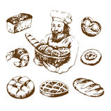 Hand drawn set bakery illustrations. Baker with fresh bread. Eclair and pretzel, cake and pie. on white background vector illustration