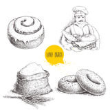 Hand drawn set bakery illustrations. Baker with  fresh bread, sesame bagels, iced sweet cinnamon bun and sack with whole flour wit. H wheat bunch. Vector Royalty Free Stock Image