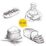 Hand drawn set bakery illustrations. Baker with  fresh bread, sliced bread loaf, eclair and sack with  flour with wheat bunch. Vector illustration isolated on Stock Photo