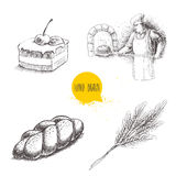 Hand drawn set bakery illustrations. Baker making fresh bread in stone oven, cream chocolate cake with cherry, fresh sesame bun an Royalty Free Stock Photo