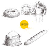 Hand drawn set bakery illustrations. Baker making fresh bread in stone oven, sesame bagel, fresh baguette and flour sack Stock Images