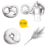 Hand drawn set bakery illustrations. Baker making fresh bread in stone oven, sesame bagel, german pretzel and wheat bunch. Royalty Free Stock Image