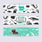 Hand drawn set of banners with caviar. Vintage collection. Doodle line graphic design. and drawing fish sturgeon jar spoon plate sandwich. Vector illustration Stock Photos