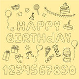 Hand drawn set with birthday cake, balloons, gift Royalty Free Stock Image