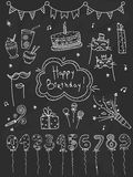 Hand drawn set Birthday elements. Cakes, balloons, festive attributes  Stock Images