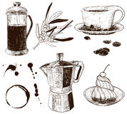 Hand-drawn set of cafe items Royalty Free Stock Photo