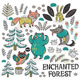 Hand drawn set with cartoon animals. Enchanted forest. Colorful hand-drawn illustration with crazy animals. Vector set with cartoon fox, bear, wolf and owl vector illustration