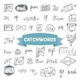 Hand drawn set. Catchwords design elements Stock Image