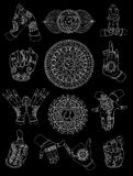 Hand drawn set with chakras and mudras on black royalty free illustration