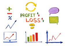 Hand drawn set of charts, graphs, symbols, diagrams. Words: `profit`, `loss`. Watercolor illustration hand drawn. A set of charts, graphs, symbols, and diagrams vector illustration