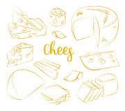 Hand drawn set of chees Royalty Free Stock Photography