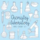 Hand drawn set of chemistry laboratory equipments Royalty Free Stock Photos