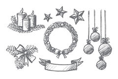 Hand drawn set of Christmas decoration elements. Vector hand drawn Christmas concept sketch. Holiday candles, ribbons, hanging balls, decoration stars, ornate vector illustration