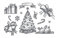 Hand drawn set of Christmas decoration elements Royalty Free Stock Images