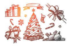 Hand drawn set of Christmas decoration elements. Vector hand drawn Christmas concept sketch. Holiday present boxes, ribbon, fir-tree with decoration and gifts Stock Photo