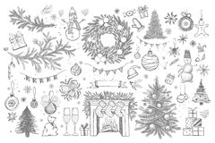 Set of Christmas design element in doodle style. Hand drawn.