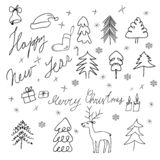 Hand drawn set of Christmas symbols. Vector vector illustration