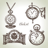 Hand drawn set of clocks and watches. In retro style Stock Image