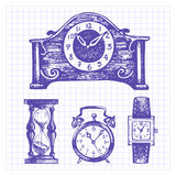 Hand drawn set of clocks and watches Royalty Free Stock Photography