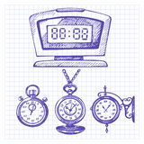 Hand drawn set of clocks and watches Stock Image