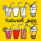hand drawn set of cocktail and juice Stock Images