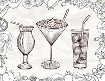 Hand drawn set of cocktails with cartoon fruits Royalty Free Stock Photography
