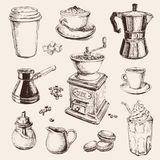 Hand Drawn Set Coffee Vector illustration Royalty Free Stock Photo