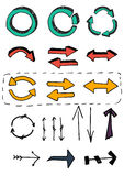 Hand drawn set. Hand drawn color arrow set royalty free illustration