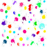 Hand drawn set with colored splashes, spots. Grunge texture with paint splashes on white background vector illustration