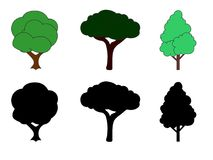 Digital vector drawing of green and silhouette of trees stock illustration