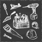Hand drawn Set of Construction tools. Royalty Free Stock Image