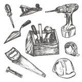 Hand drawn Set of Construction tools. Stock Image