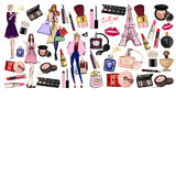 Hand drawn set with cosmetics and accessories Royalty Free Stock Photos