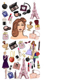 Hand drawn set with cosmetics and accessories Stock Photos