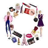 Hand drawn set with cosmetics and accessories Stock Image