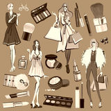 Hand drawn set with cosmetics and accessories Stock Images