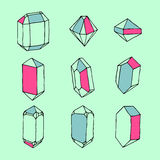 Hand-drawn set of crystals and geometric stones royalty free illustration