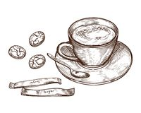 Hand Drawn set, Cup of hot drink, oat cookies and packaging sugar vector illustration